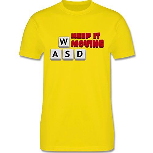Nerds & Geeks - Tastatur WASD Keep It Moving - Herren Premium T-Shirt Lemon Gelb