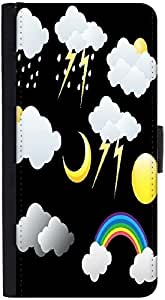 Snoogg Weather Icons Vectors Designer Protective Flip Case Cover For Htc M8
