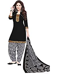 Baalar Women's Cotton Dress Material (513_Free Size_Black)