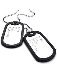 KONOV Joyería Collar con Colgante de hombre mujer, Dog Tag, Placa Nombre Militar, Cadena 68cm, Aleación, Color negro plata (con bolsa de regalo)