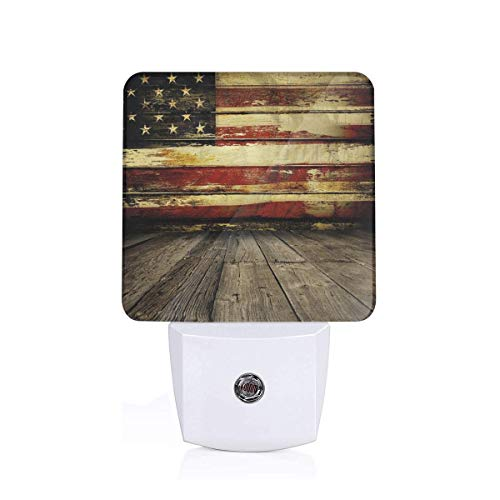 Vintage American Flag On Wooden Planks Wall Background Grunge Print Plug-in LED Night Light Lamp with Dusk to Dawn Sensor, Night Home Decor Bed Lamp - Six Flags Outlet