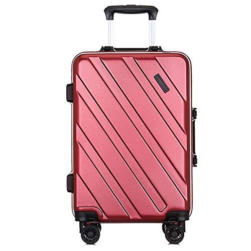 Valigia da 26 '', telaio in alluminio PC imbarco da 20 pollici, valigetta trolley universale con serratura con password maschio, valigetta rigida per studenti, 4KG (66CM, 55L)-Redwine-[26in]41x27x66cm