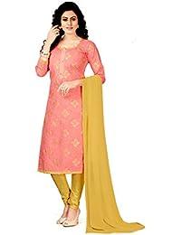 Salwer Suit (Suppar Sleave Rubber Print Party Wear Salwar Suit Sets (Free_Size_UN_Stitched_Pink_Cotton_Silk)