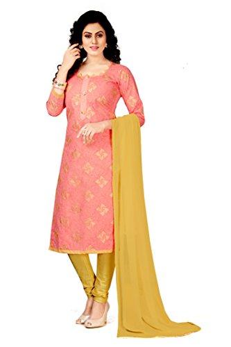 Fashila Women's Cotton Silk Dress Material (Un-Stitched_Free Size_Light_Pink )