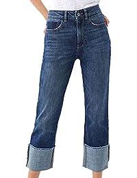 OYSOHE Damen Denim Jeans Hohe Taille Stretch Kordelzug Elastische Hosen Freizeithosen Crimpen