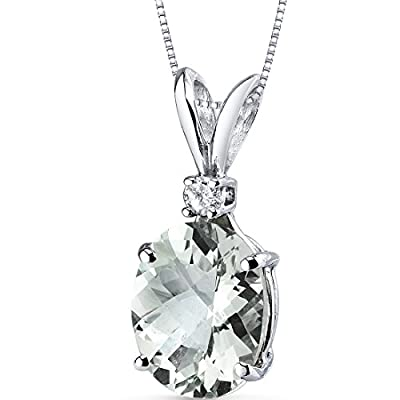 Revoni 14 Kt White Gold Oval Shape 2.25 Carats Green Amethyst Diamond Pendant