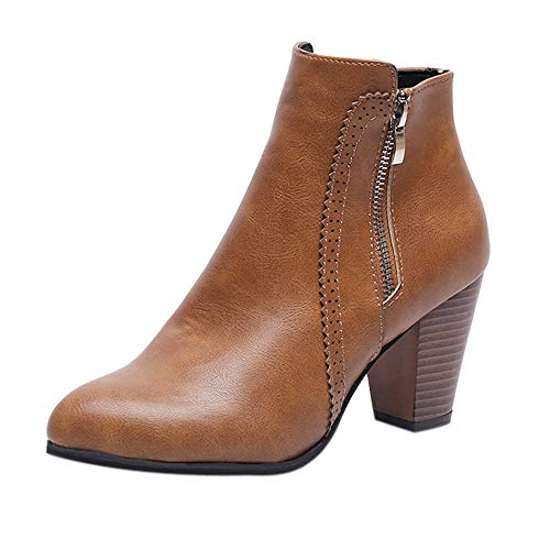 (Sannysis Stiefeletten Damen Elegant Frauen Vintage Chunky High Heels Starke Ferse Kurze Stiefel Ankle Booties Reißverschluss Schuhe Schwarz Braun)