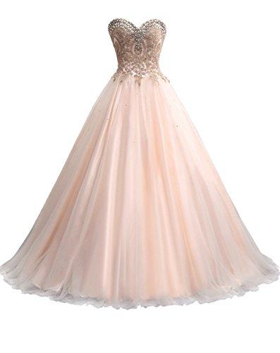 Erosebridal Herz-Ausschnitt Abendkleider Lang Ballkleid Party Kleid mit Perlen Champagner DE38 (Herzförmiger Jacke Ausschnitt)