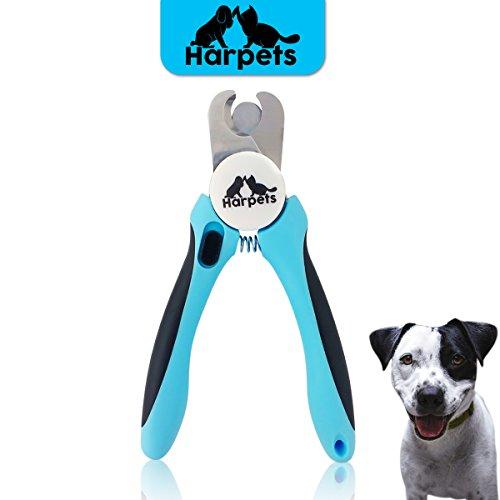 Krallenschere Harpets Premium - Krallenzange für Hunde und Katzen - integrierte Nagelfeile zur Nagel-Pflege - Ergonomischer Anti-Rutsch Griff für den perfekten Halt - Schutzvorrichtung & Sicherheitsverschluss - Ideales Nägel schneiden für kleine und große Tiere