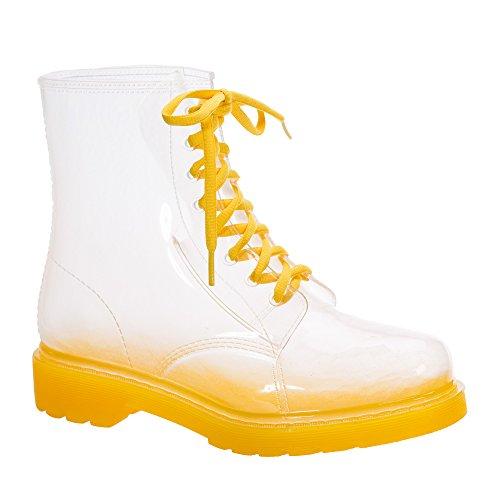 JellyJolly Martin Bottes de Pluie Imperméable pour Femme Yellow Sole