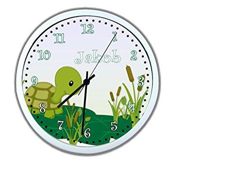 Wanduhr mit Wunsch - Namen für Kinderzimmer ; einzigartige Kinderuhr ; Rahmen weiß ; Kinder Wanduhr ohne ticken mit oder ohne Namen auf Wunsch personalisiert ; Uhr - Motiv Schildkröte