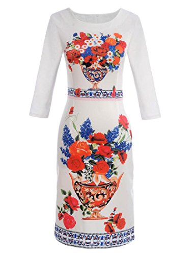 Tootlessly-Women Patterned O-Neck Skinny Long-Sleeve Pencil Sheath Dress