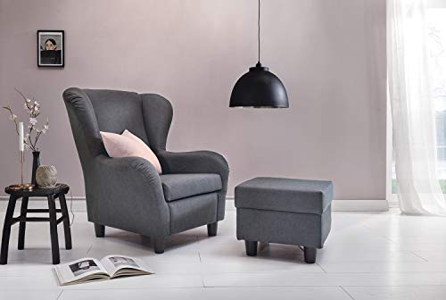 Furniture for Friends Ohrensessel Möbelfreude® Landhausstil mit Hocker Savana Hell-Grau Cocktail-Sessel Wohnzimmer-Sessel Relax-Sessel Grau Struktur-Stoff Luxus Wing-Chair Cocktail-Sessel (Grau)