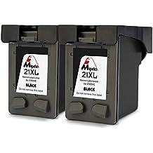 Mipelo Remanufacturado HP 21 Gran Capacidad Cartuchos de tinta (2 Negro) Compatible con HP Deskjet 3940 D2360 D2460 D1530 D1560 F4180 F2180 F2280 F2290, HP Officejet 4315 4355 Impresora