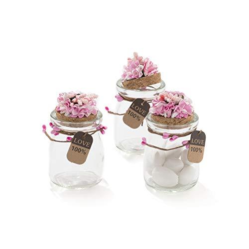 20 pezzi barattolo vetro con tappo in sughero porta confetti bomboniera incluso decorazione fatto a mano fiore pistilli etichetta tema naturale (rosa)