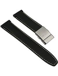 Citizen Marken Ersatzband Leder Band Schwarz mit Kontrastnaht 22mm für BJ7010-16F