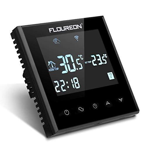 FLOUREON Thermostat d'Ambiance Intelligent Wi-Fi Thermostat Programmable sans Fil avec Écran LCD Tactile Pour Chauffage Electrique - Noir