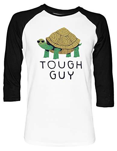 Tough Guy Unisex Baseball T-Shirt 2/3 Ärmel Herren Damen Weiß Schwarz