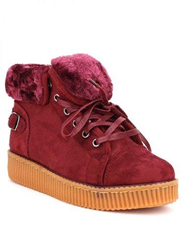 Cendriyon, Basket boots BORDEAUX Fourrée CINK MO Chaussures Femme Bordeaux