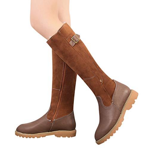 TianWlio Damen Stiefel Frauen Reißverschluss Lederstiefel mit Quadratischem Absatz Outdoorschuhe Halten Warme Schneeschuhe Runde Zehenschuhe Brown 40