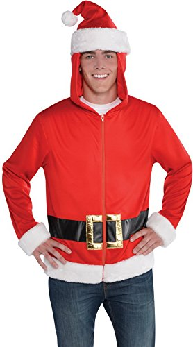 Confettery - Herren Kostüm Weihnachtsmann Hoodie, Rot, One (Kostüme Erwachsene Hoodie Rentier)