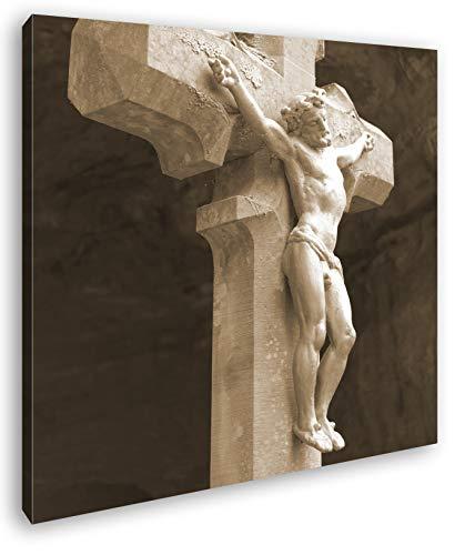 deyoli Jesus Christus am Kreuz Format: 40x40 Effekt: Sepia als Leinwandbild, Motiv auf Echtholzrahmen, Hochwertiger Digitaldruck mit Rahmen, Kein Poster oder Plakat