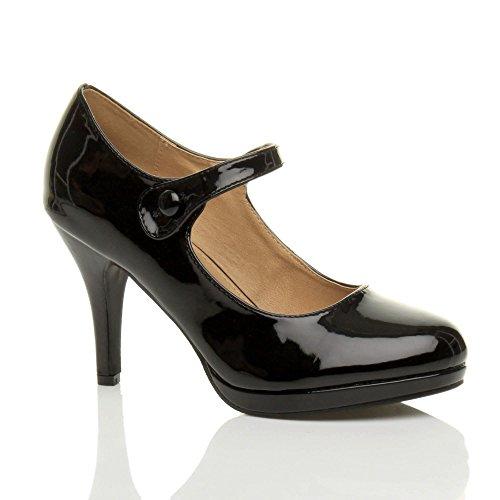 Femmes talon haut Mary Jane soir travail escarpins babies chaussures pointure Verni noir