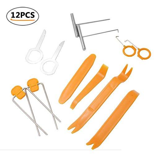 Umiwe Auto Demontage Werkzeuge Kit, multifunktionale Auto DVD Auto Radio Audio Tür Clip Panel Trim Anti-Kratz Innen Dash Entfernung Pry Tool Kit-12 Stück (gelb)