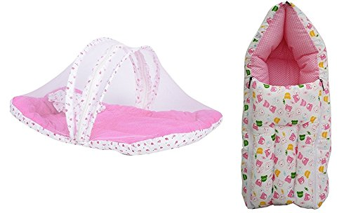 RBC Riya R Combo Baby Mattress With Mosquito Net, Sleeping Bag 0-3 Months (Pink) Ideal For New Born Baby