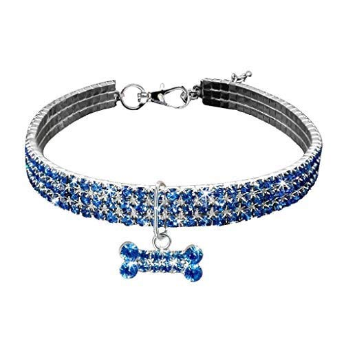 Hund Halskette Halsband,Hundehalsband Halskette, Welpe for Schmuck, Verstellbarer Anhänger, Kristall Halskette Mit Knochen Charme for Kleine, Mittlere Und Große Hunde Mädchen Kostüm, Blau -