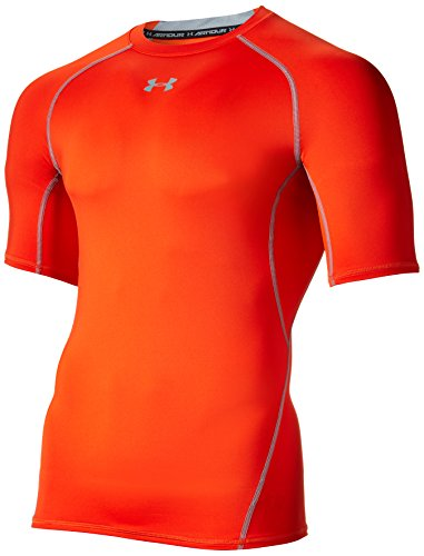 Under Armour UA HG Armour SS Camiseta de Manga Corta, Men, Naranja, 3XL