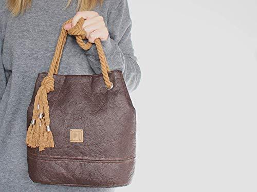 Braune Tasche aus Ananasfaser - Piñatex® - 5
