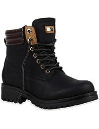Stiefelparadies Damen Stiefeletten Worker Boots mit Blockabsatz Metallic  Profilsohle Flandell 0824a436ad