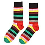 Oottati Skateboard Socken Herren - 1 Paare - Gemustert Und Bunt - Eu 40-47 Streifen Grün Rot