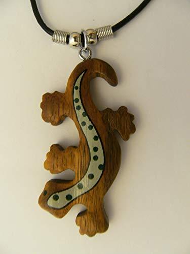 Unbekannt Kette Eidechse Holzanhänger Ketten Modeschmuck Tiere Tier Echse Gecko Salamander