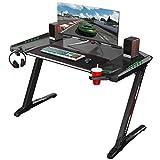EUREKA ERGONOMIC Bureau Gamer Z2 Bureau pour Gaming pc Table Gamer Noir