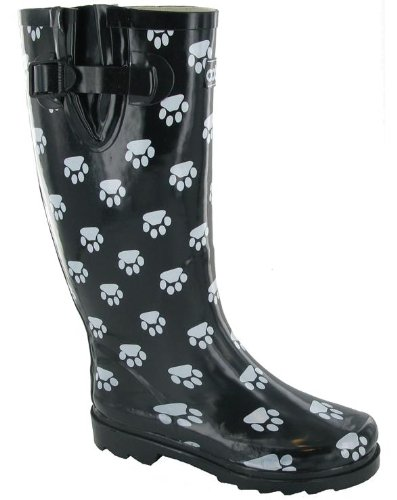Damen Costwold Collection Dog Paw Stiefel Welly Damen Wellington-Schuhe, Slipper Schwarz