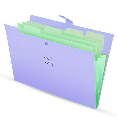 Office Lila-organizer (Ordnungsmappe A4 4 Fächer Dokument Ordner Organizer Folder mit Schnalle Lila Cover)