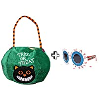 Amorays Halloween Candy Bags Kids Trick Treat Bags Including Funny Eyeglasses Embroidered Fabric Bag With Pumpkin Witch Pattern For Party (C3-3)