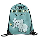 fengxutongxue Happy Birthday Lettering Party with Baby Elephant Vector Image Drawstring Backpack Travel Bag Gym Outdoor Sports Portable Drawstring Beam Port Backpack for Girl Boys Woman Female