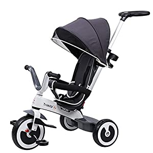 KMKM Baby Tricycle Children's Trike 4 in 1 Stroller Detachable Canopy Ride on 3 Wheels Safety Guard Pink,Gray   10