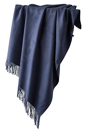 Dolamen Unisex Damen Herren Schal Schlauchschal mit Fransen, Winter Feinstrick Halstücher Stolen Umschlagtücher Schal, Warmes Halstuch für Business (78.74 * 27.56 zoll (200cm*70cm), Marine)