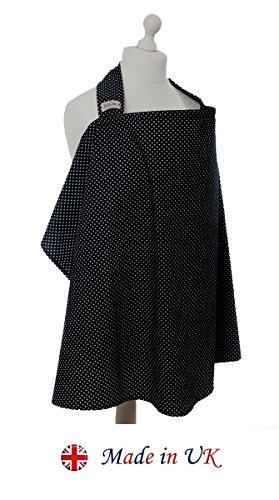 BebeChic.UK * Top Quality Oeko-Tex® Certified 100% Cotton * Breastfeeding Covers * Boned Nursing Tops - with Storage Bag - black / white dot