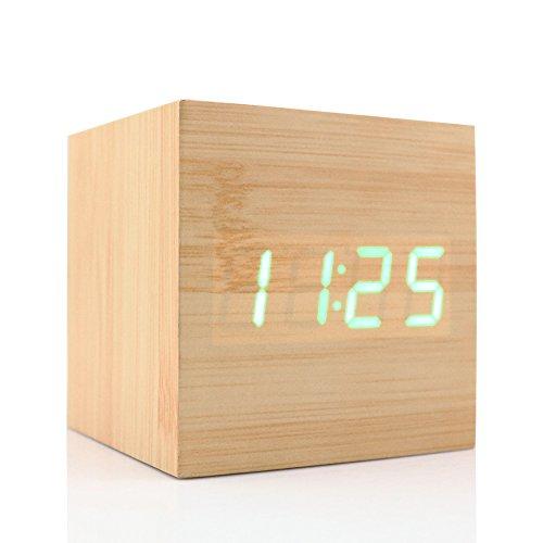 Mini Cubo Digitale Allarme Orologio Retro USB / AAA a pile di illuminazione a LED Controllo Vocale con Tempo Data di visualizzazione della Temperatura Bambù