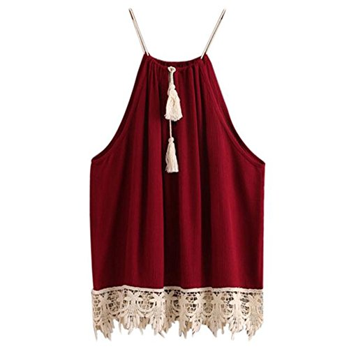 Frashing Specially to Wear it !!! Frau Stitching Spitze Leibchen Lace Trimmed Tasselled Drawstring Blouse Tank Tops T shirt (Weinrot, L) (Bra Cami Lace Top Trimmed)