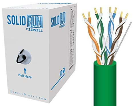 SolidRun by Sewell, Cat5e Bulk Cable, 76M., UTP, CMR, Pull Box (Green)
