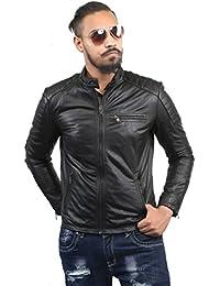BARESKIN Men's Padded Sleeves Black Leather Biker Jacket