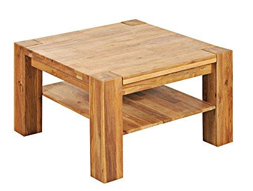 Table basse carrée 80x80cm - Bois massif de Chêne Sauvage huilé - BERLIN #09