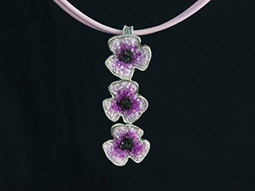 Damen Silber-Anhänger Mohn-Blüten Violett 925er Sterling-Silber handgemacht (Mohn Sterling Silber)