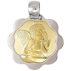 Pendentif - Médaille Ange - Or Bicolore Jaune et Blanc - Enfant